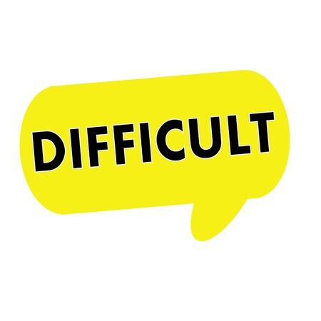 wording: DIFFICULT wording on Speech bubbles yellow rectangular Stock Photo