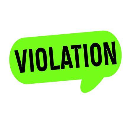 violation: VIOLATION wording on Speech bubbles green cylinder