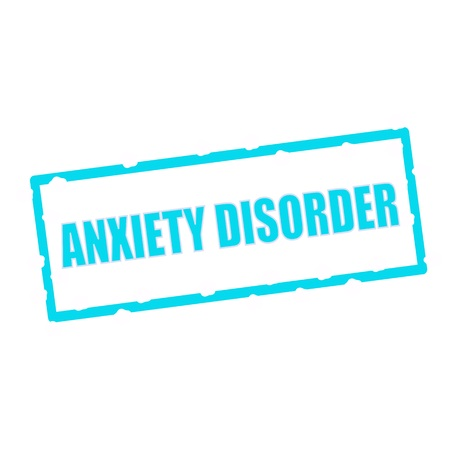 disorder: ANXIETY DISORDER wording on chipped Blue rectangular signs