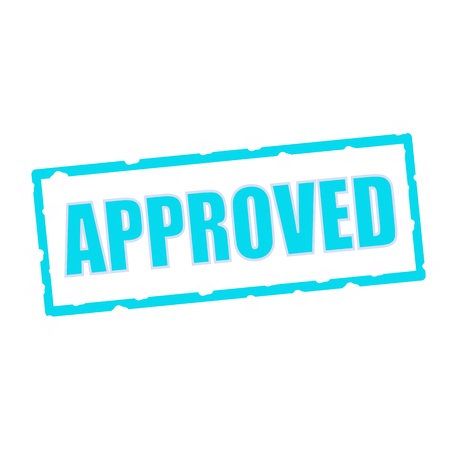 chipped: approved wording on chipped Blue rectangular signs Stock Photo