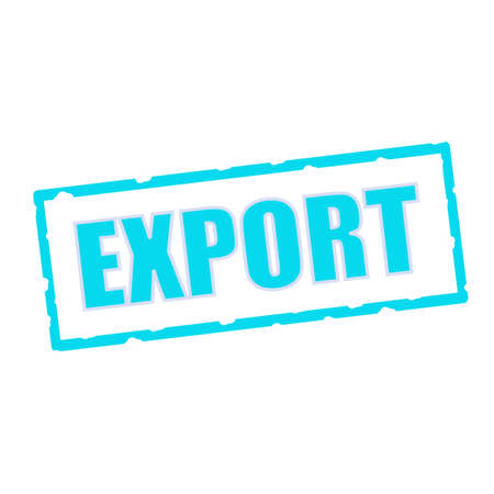 chipped: export wording on chipped Blue rectangular signs Stock Photo