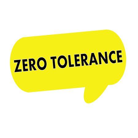 tolerancia: TOLERANCIA CERO redacci�n de las burbujas del discurso rectangular de color amarillo Foto de archivo