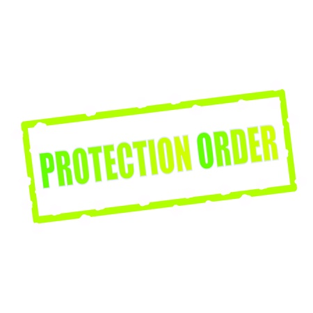 chipped: PROTECTION ORDER wording on chipped green rectangular signs