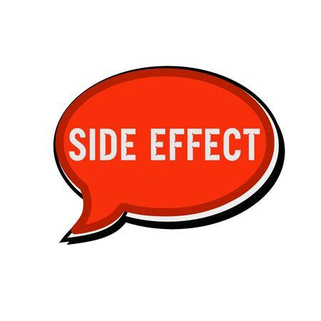 side effect: Side effect wording on red Speech bubbles