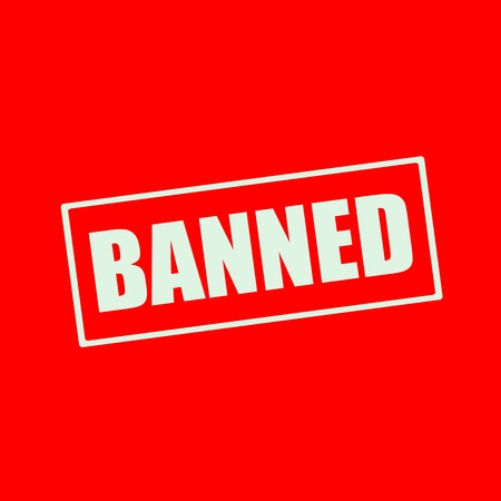 banned: BANNED  white wording on rectangle red background Stock Photo