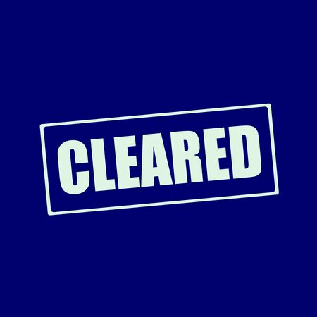 cleared: cleared white wording on rectangle blue-black background