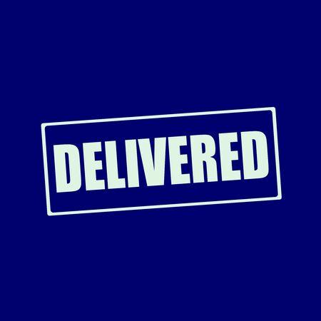 delivered: delivered white wording on rectangle blue-black background Stock Photo