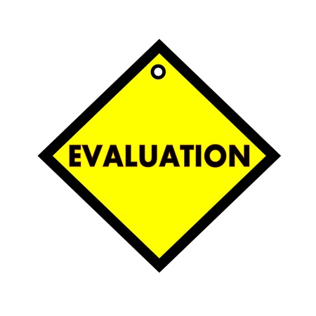 wording: EVALUATION black wording on quadrate yellow background