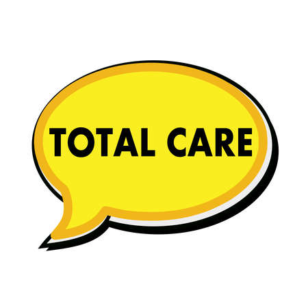 total: Total care wording on yellow Speech bubbles Stock Photo