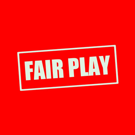 fair play: Fair play white wording on rectangle red background Stock Photo