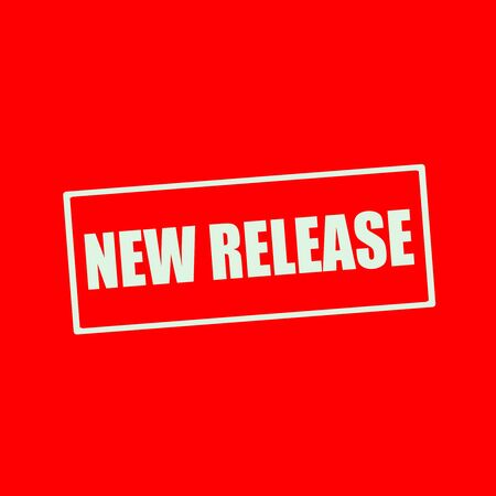releasing: New release white wording on rectangle red background