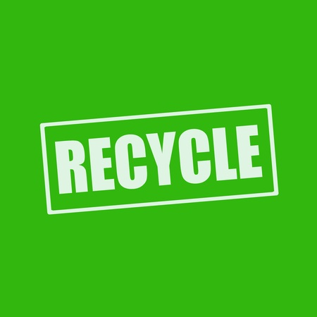 wording: Recycle white wording on rectangle green background Stock Photo