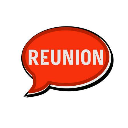 reunion: Reunion wording on red Speech bubbles Stock Photo