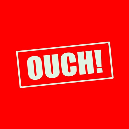 ouch: OUCH white wording on rectangle red background Stock Photo
