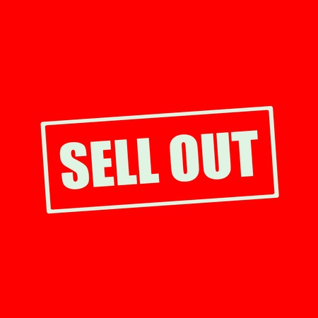 sell out: SELL OUT white wording on rectangle red background