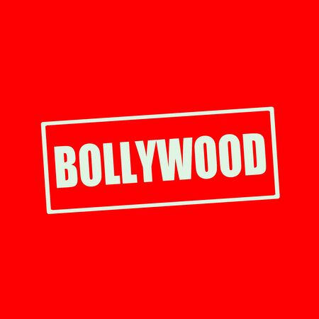 bollywood: Bollywood white wording on rectangle red background