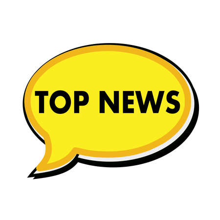 wording: Top news wording on yellow Speech bubbles Stock Photo