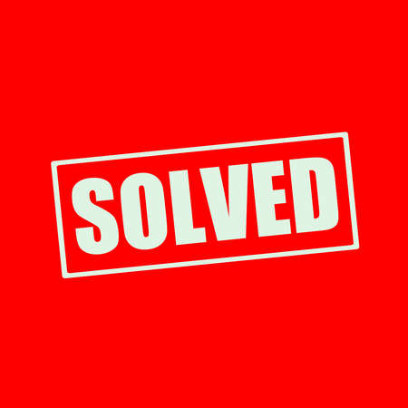 solved: Solved white wording on rectangle red background Stock Photo