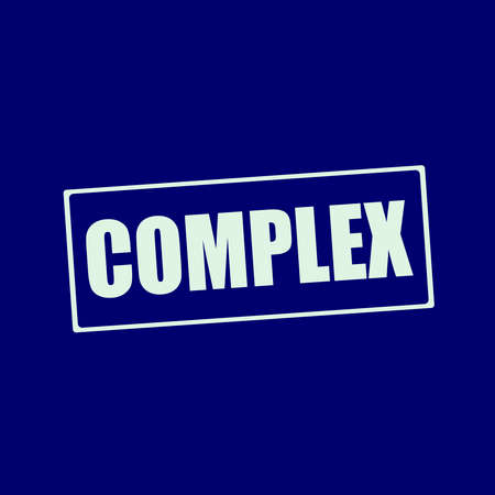 complex: complex white wording on rectangle blue-black background Stock Photo