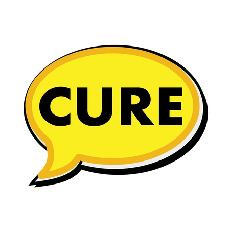 cure: Cure wording on yellow Speech bubbles