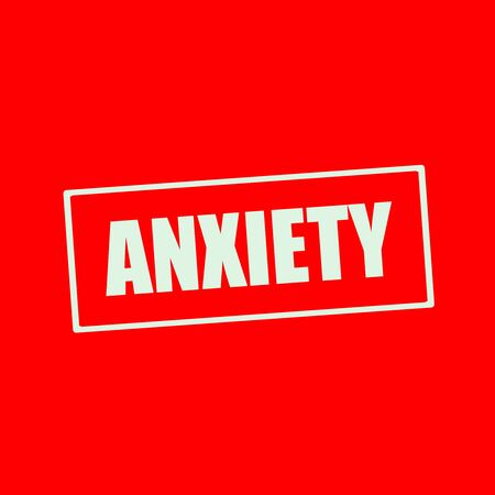 anxiety: Anxiety white wording on rectangle red background Stock Photo
