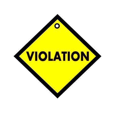 violaci�n: VIOLACI�n texto negro sobre fondo amarillo cuadrado Foto de archivo