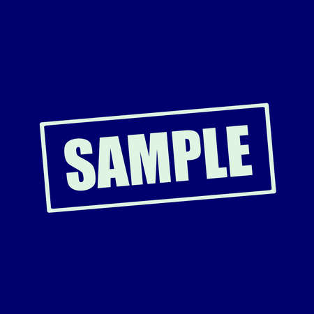 wording: sample white wording on rectangle blue-black background Stock Photo