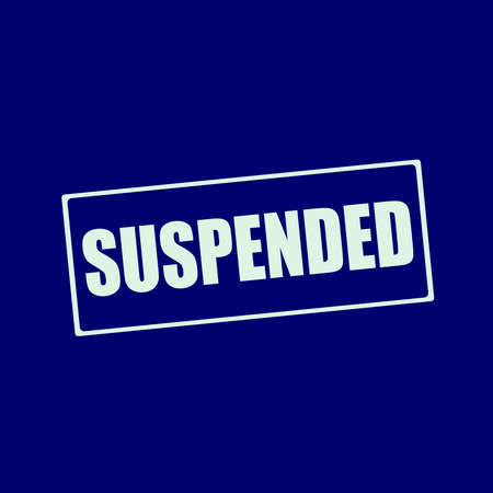 suspended: suspended white wording on rectangle blue-black background Stock Photo