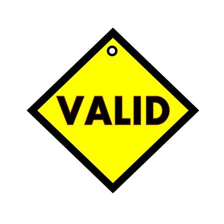valid: VALID black wording on quadrate yellow background