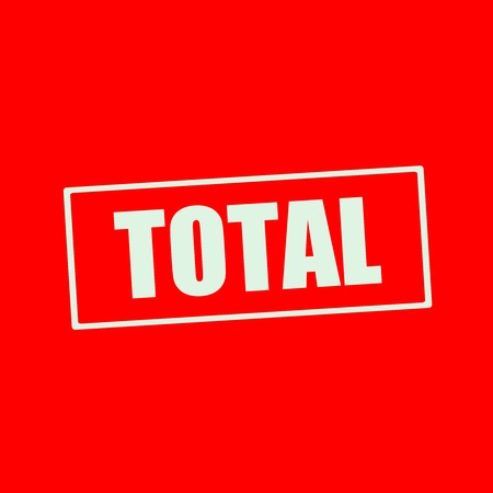 total: Total white wording on rectangle red background Stock Photo