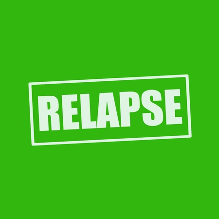 relapse: RELAPSE white wording on rectangle green background Stock Photo