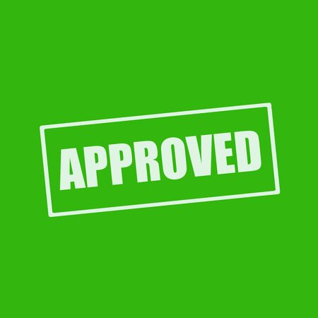 wording: approved white wording on rectangle green background