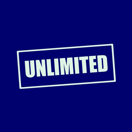 wording: unlimited white wording on rectangle blue-black background