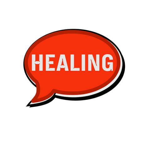 healing: Healing wording on red Speech bubbles