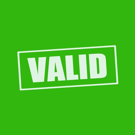 valid: VALID white wording on rectangle green background Stock Photo