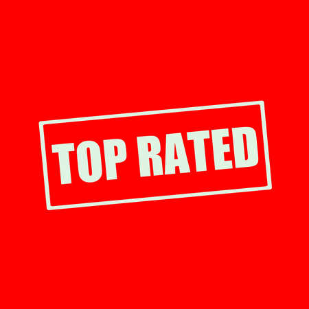 top rated: TOP RATED white wording on rectangle red background