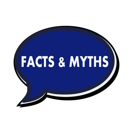 myths: Facts and Myths wording on blue Speech bubbles Stock Photo