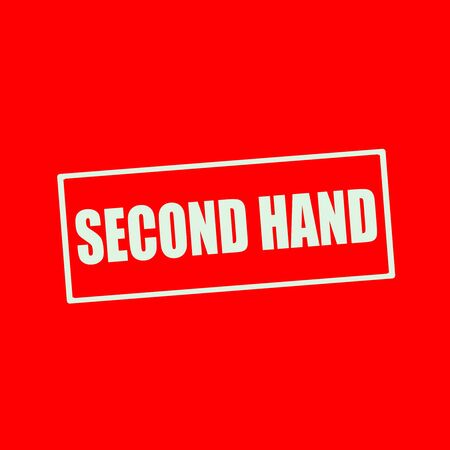 second: Second hand white wording on rectangle red background Stock Photo