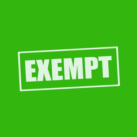 exempt: EXEMPT white wording on rectangle green background