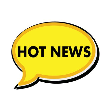 wording: Hot news wording on yellow Speech bubbles Stock Photo