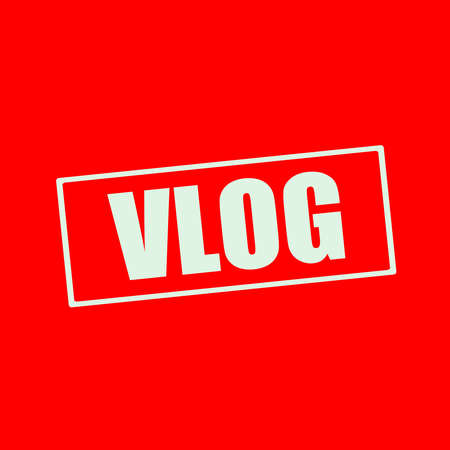 wording: Vlog white wording on rectangle red background