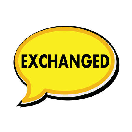 wording: Exchanged wording on yellow Speech bubbles Stock Photo