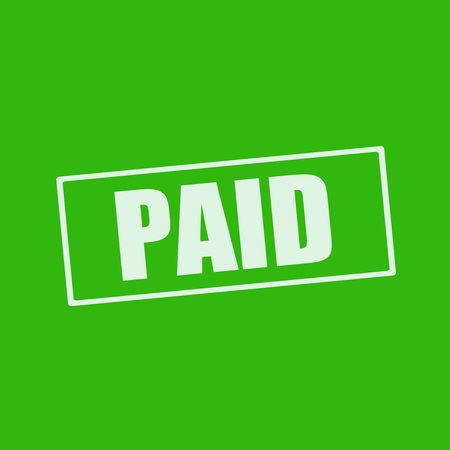 paid: Paid white wording on rectangle green background Stock Photo