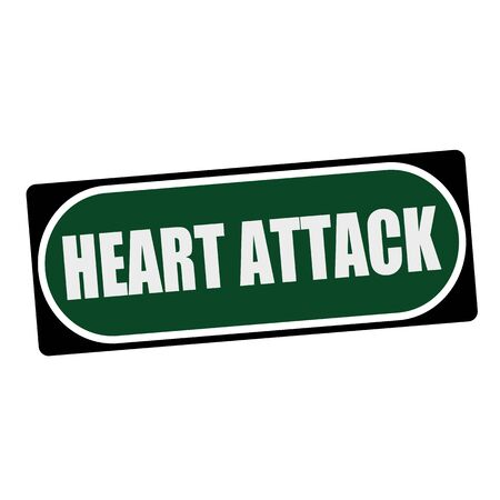 heart attack: Heart Attack white wording on green background  black frame Stock Photo
