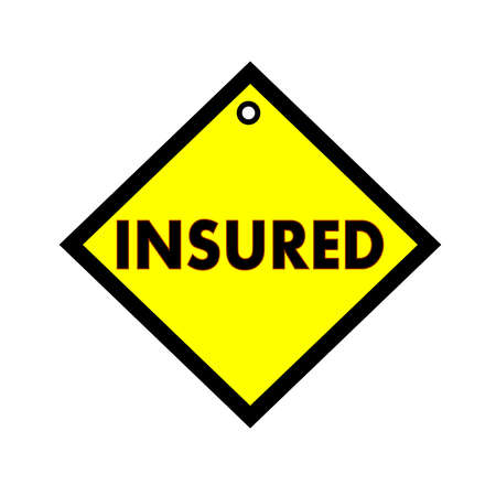 insured: Insured black wording on quadrate yellow background