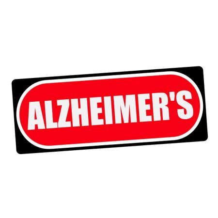 alzheimers: ALZHEIMERS white wording on red background  black frame