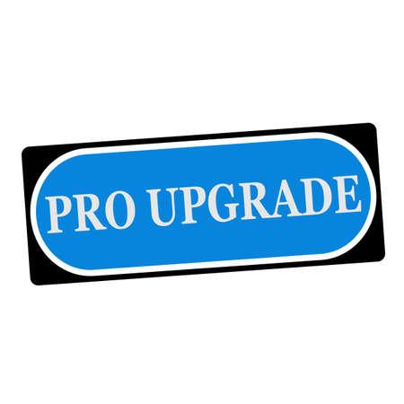 pro: Pro upgrade white wording on blue background  black frame