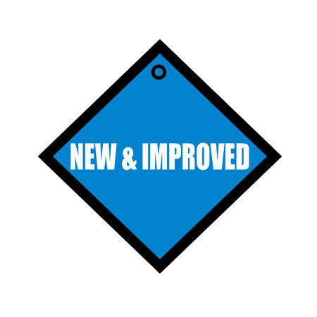 new and improved: new and improved white wording on quadrate blue background
