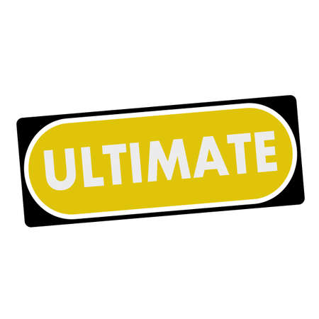 ultimate: ultimate white wording on yellow background  black frame