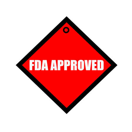 fda: FDA Approved black wording on quadrate red background